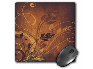 3dRose LLC 8 x 8 x 0.25 Inches Mouse Pad, Pretty Brown/Tan Flower Flourishes (mp_78562_1)