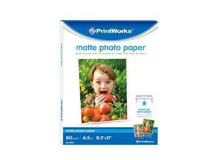 printworks matte photo paper for inkjet printers, printable on both sides, 6.5 mil, 8.5 x 11 inches, 80 sheets 004266