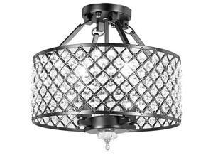 diamond life 4light antique black round metal shade crystal chandelier semiflush mount ceiling fixture
