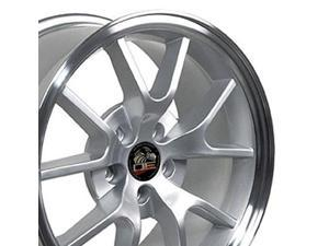 18x9 wheel fits ford mustang  fr500 style silver rim w/mach'd face