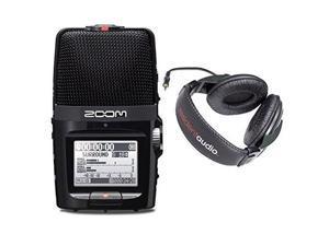 zoom h2n digital multitrack recorder w/ resident audio r100 headphones  bundle