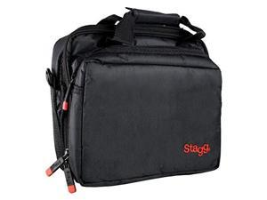 stagg mib100 microphone bag with thick velvet lining & two compartments  black