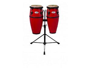 toca 2300frd synergy series fiberglass conga set with stand  red