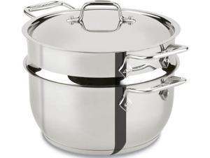 allclad e414s564 stainless steel steamer cookware, 5quart, silver
