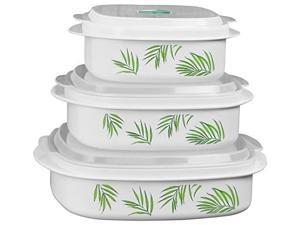 corelle coordinates by reston lloyd 6piece microwave cookware, steamer and storage set, bamboo leaf