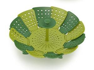joseph joseph 40023 lotus steamer basket for steaming food and vegetable folding nonscratch bpafree, green