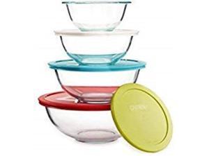 pyrex smart essentials mixing bowl set including locking lids clear, 8 piece