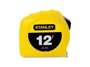 stanley 30485 power return tape measure w/belt clip, 1/2inch x 12ft, yellow