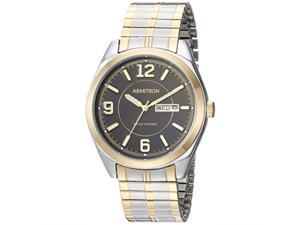 armitron men's 20/4591bktt day/date function twotone expansion band watch