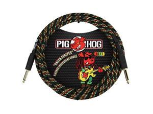 """pig hog pch10ra 1/4"""" to 1/4"""" rasta stripes guitar instrument cable, 10 feet"""