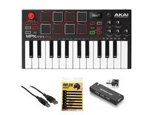 akai professional mpk mini play  compact keyboard and pad controller with integrated sound module + cable + 4port usb + pack of cable ties