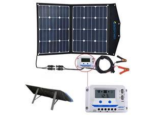 acopower 80w portable solar panel, 12v foldable solar charger with 10a lcd charge controller in suitcase