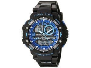 armitron sport men's 20/5062blu blue accented analogdigital chronograph black resin strap watch