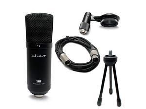 vault vcm studio microphone with tripod, xlr cable, and shock mount