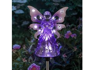 """exhart solar garden stake lights  purple acrylic angel stake memorial gift w/ 12 solar leds in the wings  solar angel lights perfect as angel remembrance gifts & sympathy gifts 4"""" w x 34"""" h"""