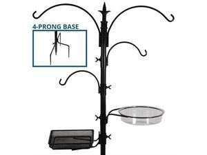 sorbus bird feeding bath station, black metal deck pole for bird feeders with ground stake prongs, great for attracting birds outdoors, backyard, garden, 7ft tall  black