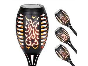 """exhart flickering flame solar torch yard stake  4 pack small led tiki torch dancing flame stake to illuminate gardens & events  outdoor waterproof pathway lights 3"""" l x 3"""" w x 20"""" h"""