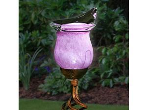 """exhart pink calla lily yard stake w/metal finials  solar calla lily w/led lights, calla lily flower outdoor decor lights, elegamt glass flower dcor for outdoors, 3"""" l x 3.8"""" w x 31"""" h"""