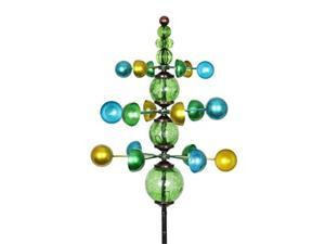 """exhart colorful helix yard mobile, threetier vertical wind spinners with green glass crackle balls garden stake  green, blue & yellow garden spinners  kinetic art decor, 11.5"""" l by 48"""" w inches"""