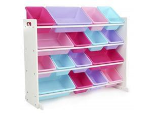 tot tutors forever collection wood toy storage organizer, xlarge, white/blue/pink/purple