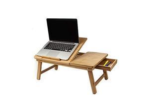mind reader laptop lap desk flip top with drawer, foldable legs, breakfast tray, brown