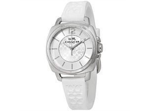 coach women's 14503146 mini boyfriend signature white silicone strap silver tone watch