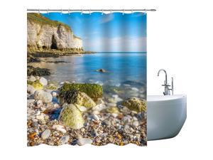 Elite Sea Shower Curtai Under The Clear Sky There are Seashores Full of Goose Warm Stones, Shower Curtain for Bathroom with Hooks, 71X 71 in