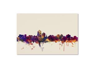 Albuquerque New Mexico Skyline by Michael Tompsett, 22x32-Inch Canvas Wall Art