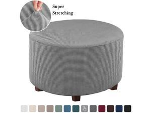 Flamingo P Stretch Ottoman Slipcovers Round Ottoman Covers Removable Footstool Covers Storage Ottoman Protect Covers for Living Room (Medium, Dove)