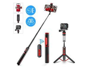 All in One Selfie Stick & Tripod,Extendable Non Skid Tripod Stand with Detachable Bluetooth Remote,Lightweight,Adjustable Heavy Duty Aluminum Tripod for iPhone, Android Phone