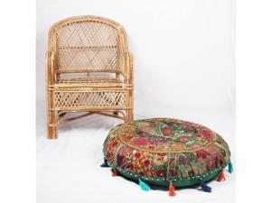 Jaipur Textile Hub Patchwork Cotton Boho Chic Bohemian Hand Embroidered Round Floor Pillows & Cushion Cover Seating Pouf Ottoman (Green, 32 inch Approx)