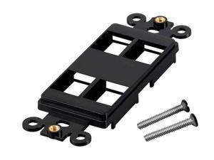 2x 4 Port Hole 1-Gang Keystone Jack Insert Decora Style Wall Plate Modular Black