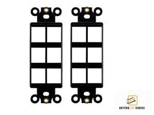 2x 6 Port Hole 1-Gang Keystone Jack Insert Decora Style Wall Plate Modular Black