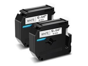 GREENCYCLE Compatible Brother M-K231 M231 MK231 Label Tape 0.47 Inch (12mm) x 26.2 Feet (8m) use in Brother PT-100 PT-110 PT-65 PT-45M PT-70 PT-80 PT-90 Printer (2 Pack, Black on White)