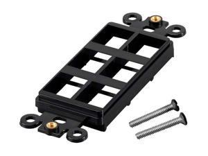 6 Port Hole 1-Gang Keystone Jack Insert Decora Style Wall Plate Modular Black