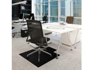 "Cleartex Advantagemat Black Chair Mat - Carpeted Floor - 48"" Length x 36""..."