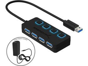 Sabrent 4-Port USB 3.0 Hub with Individual LED Lit Power Switches, Included 5V/2