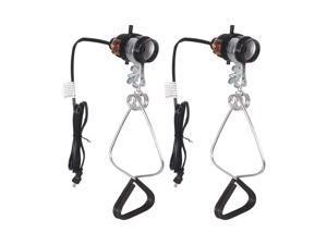 Simple Deluxe HIWKLTCLAMPSOCKETX2 2-Pack 18/2-Gauge Brooder and Heat Clamp Lamp with Bakelite Socket 150 Watt 6 Feet Cord, Black