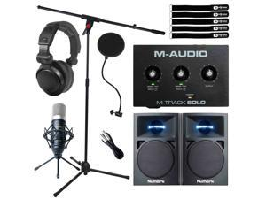 Home Recording Bundle M-Audio M-TRACK SOLO Audio Interface w Monitors & Mic