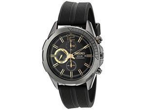 Seiko Solar Chronograph Black Dial SS Black Silicone Quartz Mens Watch SSC385