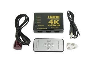 Ultra HD 4K 5 Port HDMI Switch Box Splitter 3D 1080P IR Remote Control HUB