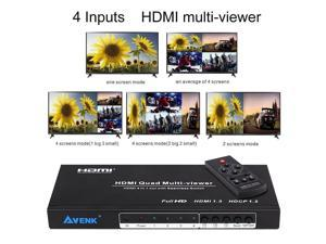 AVENK Quad Multi-Viewer 4x1 HDMI Switcher 4 Ports with Seamless Switch and IR...