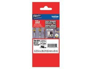 "Adhesive TZ Tape (R) Cartridge 0.23""x26-1/5ft., Black/White BROTHER TZeS211"