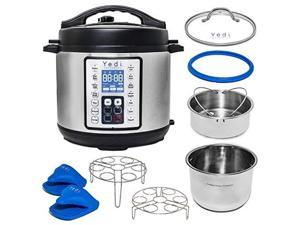 yedi total package 8 qt 9in1 instant programmable xl pressure cooker, deluxe accessory kit, recipes & 2yr warranty. pressure cook, slow cook, saut, egg, rice cooker, yogurt, steamer, hot pot