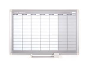 "Magnetic Steel Dry-Erase Weekly Planner, 24"" X 36"", Aluminum Frame"