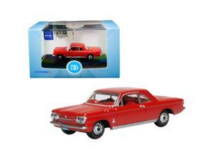 1963 Chevrolet Corvair Coupe Riverside Red with Red Interior 1/87 (HO) Scale Diecast Model Car by Oxford Diecast