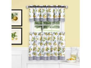 Ergode Lemon Drop Tier and Valance Window Curtain Set - 58x36 - Yellow