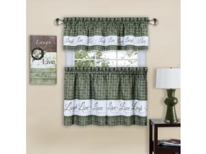 Ergode Live, Love, Laugh Window Curtain Tier Pair and Valance Set - 58x36 - Green