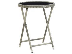 "vidaXL Tea Table Gray 23.6"" Poly Rattan and Tempered Glass Garden Folding"