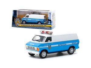 """1987 Dodge Ram B250 Van Blue and White \New York City Police Department\ (NYPD) 1/43 Diecast Model by Greenlight"""""""""""""""